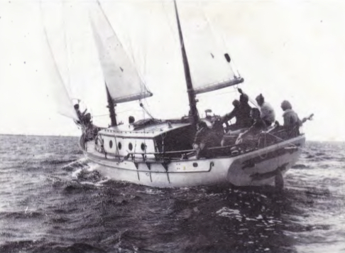 Seadog under sail back in 1974 (from original Formosa 37 brochure, 1974)